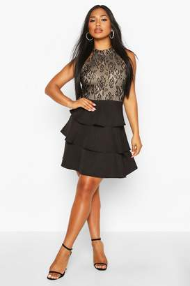 boohoo High Neck Lace Top Tiered Skater Dress