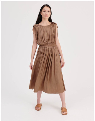 Piper Shoulder Tie Pleat Dress