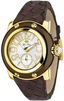 Glam Rock Women's SummerTime 40mm Brown Leather Band Gold Plated Case Swiss Quartz MOP Dial Watch GR40045N