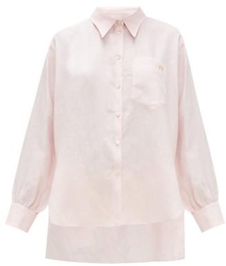 Hillier Bartley Logo-embroidered Linen Shirt - Pink