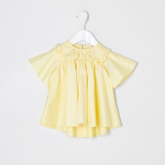River Island Mini girls Yellow poplin top