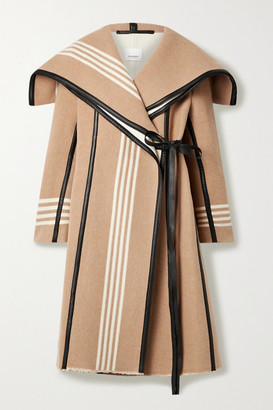 Burberry Layered Cape-effect Leather-trimmed Striped Wool Coat - Camel