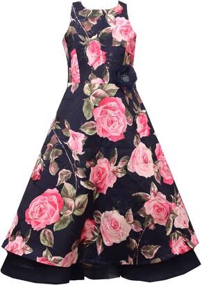 Iris & Ivy Metallic Floral Brocade Dress