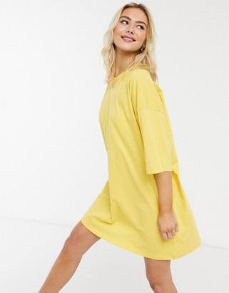 ASOS DESIGN oversized T-shirt dress in yellow