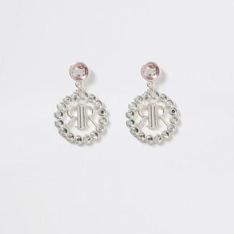 River Island Girls silver tone logo drop stud earrings