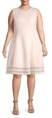Calvin Klein Plus Mesh-Trimmed Fit & Flare Dress