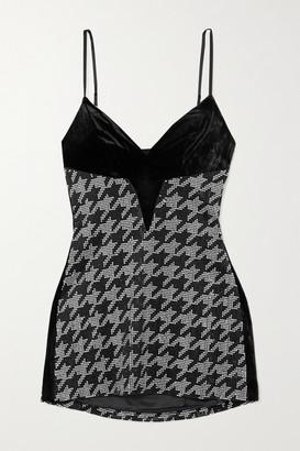 retrofete Eva Crystal-embellished Houndstooth Silk-blend Satin And Velvet Mini Dress - Black