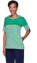 Quacker Factory Stars & Stripes Elbow Sleeve Hooded T-Shirt