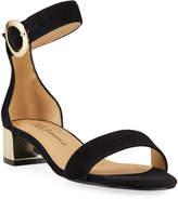 Neiman Marcus Honna Suede Metallic-Heel Sandals
