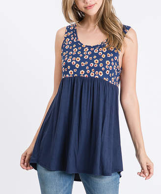 Cool Melon Women's Tank Tops Navy - Navy & Orange Floral Color Block Sleeveless Tunic - Women & Plus