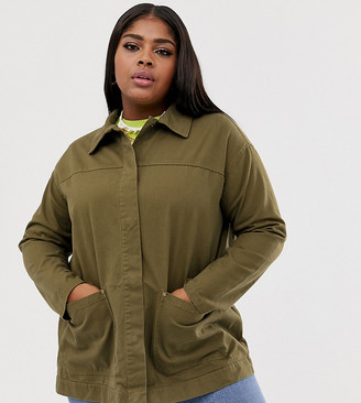 Asos DESIGN Curve utility washed cotton jacket
