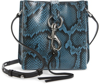 Rebecca Minkoff Mini Megan Snake Embossed Leather Feed Bag
