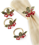 Lenox Holiday Ribbon & Holly Napkin Rings, Set of 4