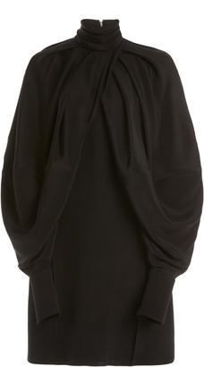 Victoria Beckham Cape-Sleeve Double-Faced Crepe Mini Dress