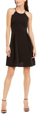 Monteau Petite Scalloped Metallic Fit & Flare Dress