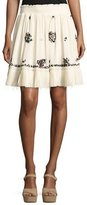 Derek Lam 10 Crosby Embroidered Silk Mini Skirt, Cream
