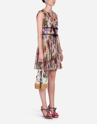 Dolce & Gabbana Short Sleeveless Floral-Print Chiffon Dress