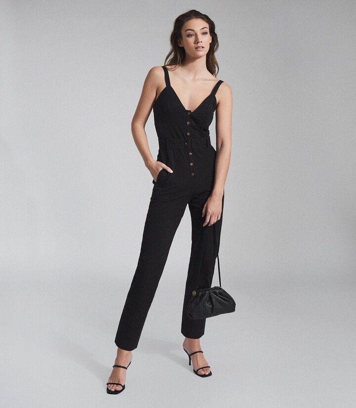Thumbnail for your product : Reiss Sola - Button Through Jumpsuit in Black
