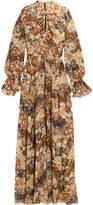 Chloé Metallic Fil Coupé Silk-chiffon Maxi Dress