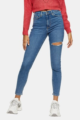 Topshop Womens Mid Blue Thigh Ripped Jamie Skinny Jeans - Mid Blue