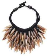 Nest Fringed Leather & Horn Necklace