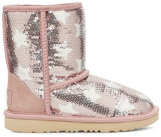 UGG Kids Classic Short II Leather Ankle Boots with Sequins