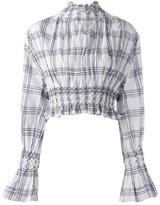 Kenzo plaid smocked blouse