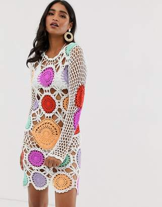 Missguided crochet knit dress with multi patchwork