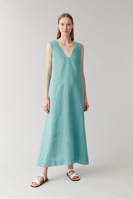 Cos Lyocell-Linen Long Dress With Square Neck