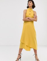 Asos asymmetric button through sleeveless midi dress