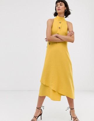 Asos asymmetric button through sleeveless midi dress-Yellow