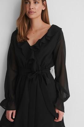 NA-KD Flounce Chiffon LS Mini Dress Outfit.