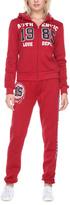 Stanzino Red 'Authentic' Hooded Jacket & Sweatpants Lounge Set
