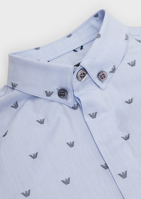 Emporio Armani Button-Down Shirt In Fil Coupe With Lettering