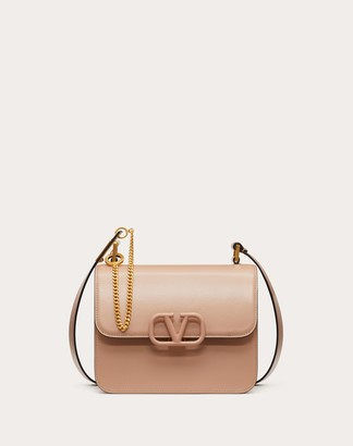 Valentino Vsling Shoulder Bag In Smooth Calfskin Leather. Women Rose Cannelle 100% Pelle Bovina - Bos Taurus OneSize