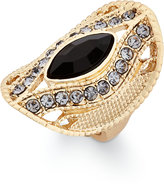 INC International Concepts Gold-Tone Black Stone Contoured Oval Ring, Only at Macy's