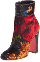 Christian Louboutin Moulamax Floral Velvet 100mm Red Sole Bootie