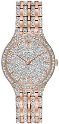 Bulova Analog Pave Rose-goldtone Bracelet Watch
