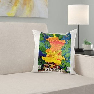 East Urban Home Vintage Fiuggi, Italy Italian Travel Poster Pillow Cover