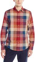 Original Penguin Men's Long Sleeve Slubby Bold Plaid Button Down Shirt