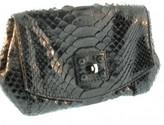 Zagliani excellent (EX Black Python Clutch Bag