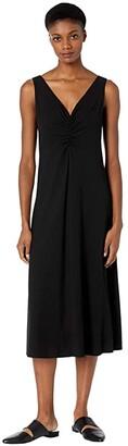 Vince Double Ruched V-Neck Dress (Black) Women's Dress