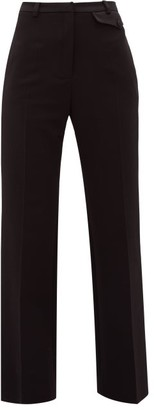 Paco Rabanne Satin-panelled Wool-blend Tailored Trousers - Black