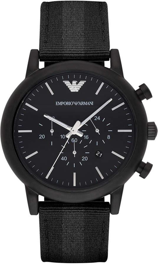 Emporio Armani Men's Chronograph Black Leather Backed Nylon Strap Watch 46mm AR1948