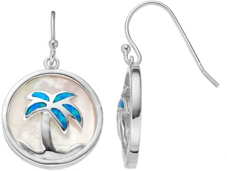 Sterling Silver Mother-of-Pearl & Lab-Created Blue Opal Palm Tree Disc Drop Earrings