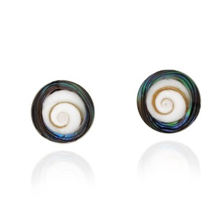 Aeravida Handmade Abalone Shell Swirl Shiva .925 Silver Post Earrings