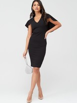 Quiz Round V-Neck Midi Cape Dress - Black