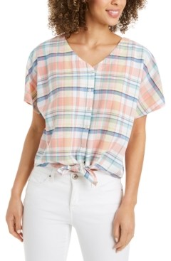 Style&Co. Style & Co Petite Tie-Front Blouse, Created for Macy's