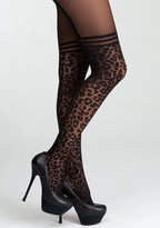 Bebe Leopard Garter Sheer Tights