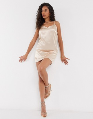 Parisian satin cami slip dresss in nude